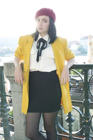 gold vintage blazer - white vintage shirt - black Topshop skirt
