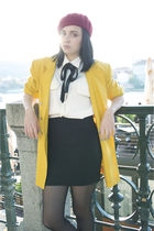 gold vintage blazer - white vintage shirt - black Topshop skirt