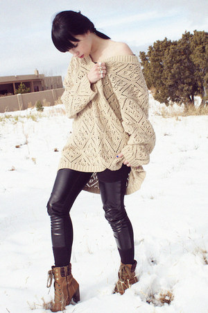 black hm leggings - camel vintage sweater - silver hm ring - brown Bata shoes