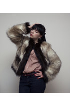 light brown faux fur Lanvin for H&M jacket - coral Topshop blouse - dark brown v