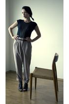 beige American Apparel pants - black American Apparel top