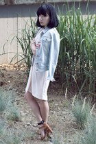 light blue denim Bershka jacket - light pink H&M dress - light brown Zara heels