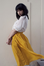 gold H&M skirt - white H&M blouse