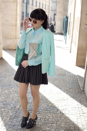 aquamarine H&amp;M blazer - black Zara wedges - black H&amp;M skirt