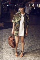 army green vintage jacket - white Sheinside dress