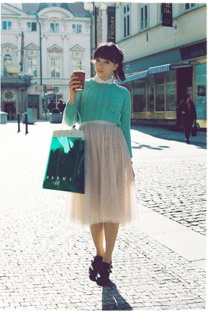 ivory H&M skirt - aquamarine asos sweater