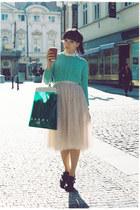 ivory H&M skirt - aquamarine asos sweater