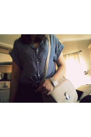 navy cropped shirt Primark shirt - neutral bag - silver unknown bracelet