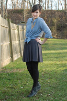 light blue chambray Gap shirt - dark gray wedge H&M boots - black H&M leggings