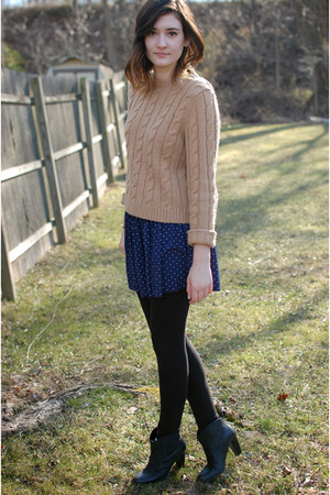 tan Express sweater - black leather ankle Gap boots - black H&M leggings