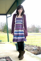 purple Victorias Secret cardigan - blue Victorias Secret dress - black H&M leggi