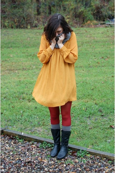 gold H&M dress - black Bass boots - brick red HUE tights