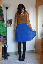 blue pleated skirt - black leather ankle Gap boots - black H&M leggings