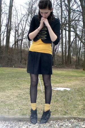 gold top - blue H&M jacket - black Old Navy skirt - tights - black Aldo boots -