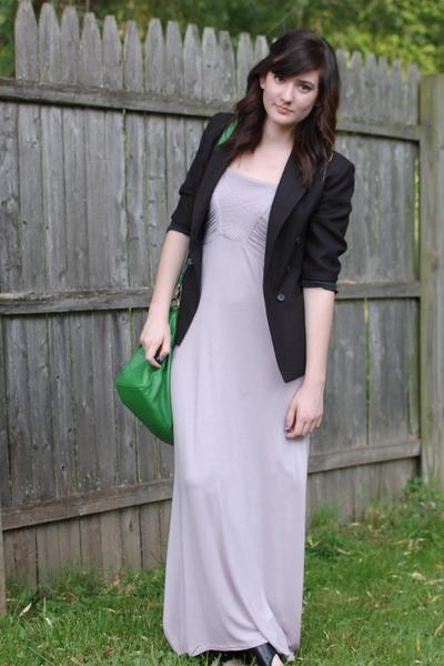 0ccea577635 light purple maxi dress - black thrifted boys blazer - green satchel  Cooperative