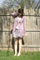 purple BDG cardigan - beige loafers shoes - pink ruffle neckline Gap top