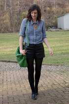 green Urban Outfitters purse - light blue chambray Gap shirt - black tights