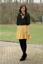 gold Forever 21 necklace - black Gap tights - mustard Forever 21 skirt