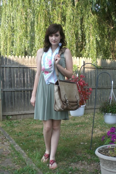 green Victorias Secret dress - brown vintage from etsy purse - red Newport News
