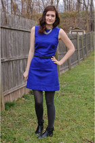 blue H&M dress - black ankle H&M boots - dark gray glitter Gap tights