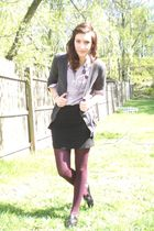 gray Forever 21 cardigan - black H&M skirt - red HUE tights - gray Polo shirt -