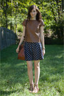 Navy-polka-dot-jcrew-skirt-dark-brown-satchel-madewell-bag