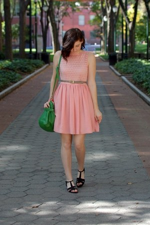 peach lace chiffon American Apparel dress - green Cooperative bag