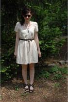 8ef428a522d cream pintuck cotton Kimchi Blue dress - dark brown round sunglasses - black  str