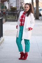 white Zara coat - red checkered madewell shirt - green wool blend J Crew pants