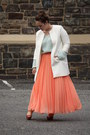 White-white-zara-jacket-aquamarine-mint-zara-jumper-salmon-skirt