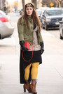 Black-zara-dress-army-green-army-zara-jacket-mustard-hue-tights
