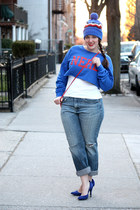 white tank Zara top - periwinkle boyfriend jeans - blue zigzag beanie JCrew hat