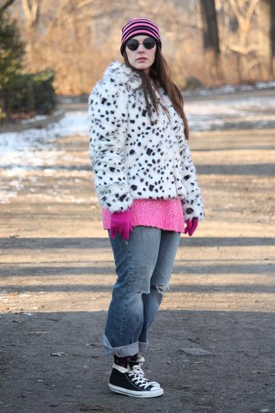white faux fur asos coat - periwinkle boyfriend jeans