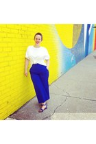 blue Zara pants - blue shoes - white cotton Zara blouse