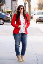 red Zara blazer - periwinkle boyfriend Zara jeans