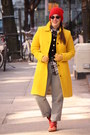 Red-studded-zara-boots-yellow-wool-blend-j-crew-coat