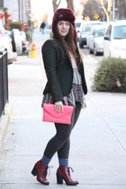 magenta faux fur Juicy Couture hat - maroon lace-up Topshop boots