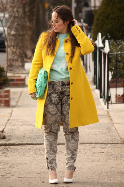 yellow wool JCrew coat - charcoal gray printed Zara jeans