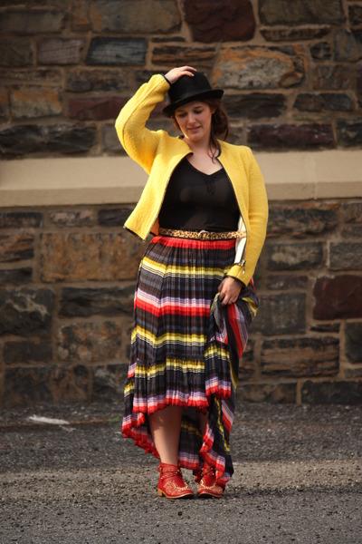 free people skirt - Zara boots - bowler hat hat - Zara jacket