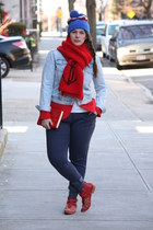 red Zara blazer - ruby red studded Zara boots - blue wool beanie J Crew hat