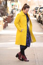 Navy-topshop-dress-maroon-lace-up-topshop-boots-yellow-wool-blend-jcrew-coat
