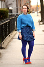 Periwinkle-denim-zara-shirt-blue-hue-tights-navy-jacquard-zara-skirt