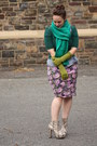 Heather-gray-boots-purple-asos-dress-green-bright-green-j-crew-scarf