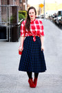 Red-checkered-madewell-shirt-ruby-red-suede-steve-madden-boots