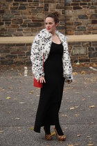 white faux fur asos jacket - black Zara dress - red Topshop bag