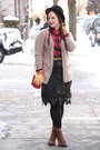Brown-lace-up-boots-black-wool-nordstrom-hat-ruby-red-plaid-forever-21-shirt