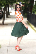 green pleated silk Joe Fresh skirt - white cat eye asos sunglasses