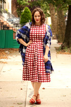 navy plaid Zara scarf - ruby red checkered asos dress