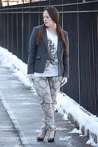 heather gray printed Zara jeans - gray wool banana republic blazer