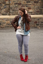 red military boots - dark brown leather bomber jacket